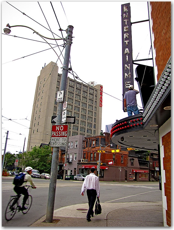 strip joint, marquee, repairs, toronto, city, life