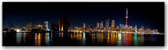 skyline, panorama, night, buildings, lights, lakeshore, lake ontario, evening, cn tower, toronto, city, life
