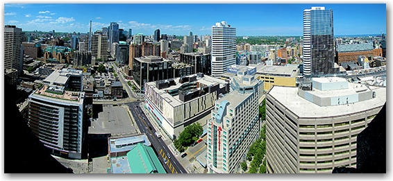 skyline, panorama, city hall, east tower, north-east, bay street, dundas street west, intersection, ryerson university, toronto, city, life