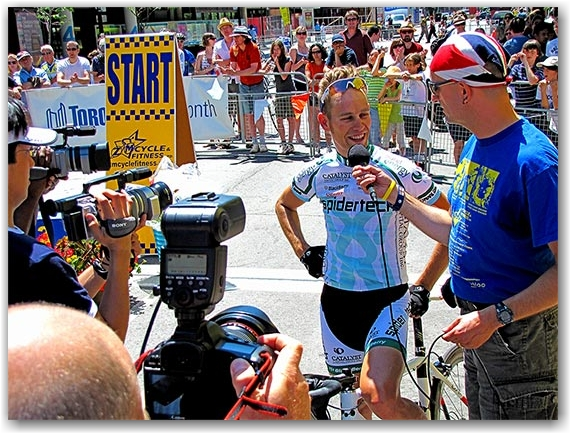 criterium, 2010, winner, first place,  andrew randell, team spidertech, road, race, street, bicycle, biking, cycles, cyclists, bicycling, riding, competition, front street, toronto, city, life