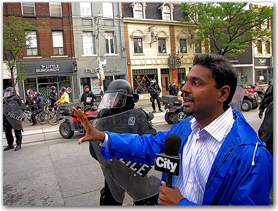 citytv, reporter, francis d'souza, g20, riots, protests, queen street west, toronto, city, life