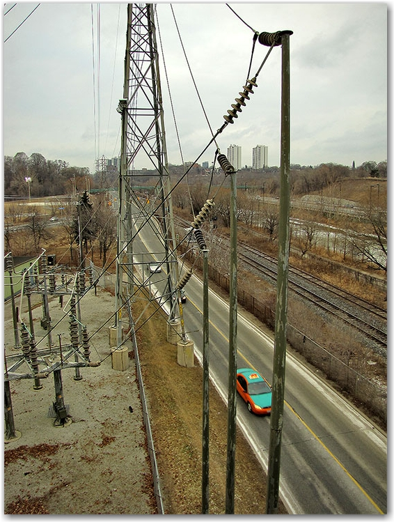 river street, don valley, electrical substation, taxi, road, toronto, city, life