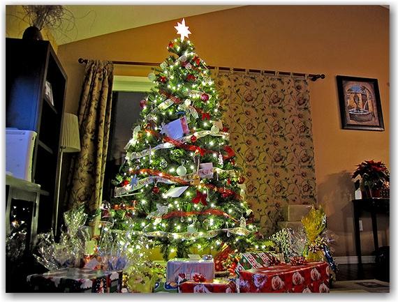 christmas tree, gifts, presents, living room, toronto, city, life