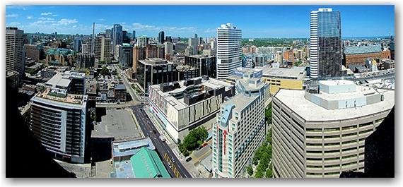 skyline, panorama, city hall, east tower, north-east, bay street, dundas street west, intersection, ryerson university, toronto, city, life