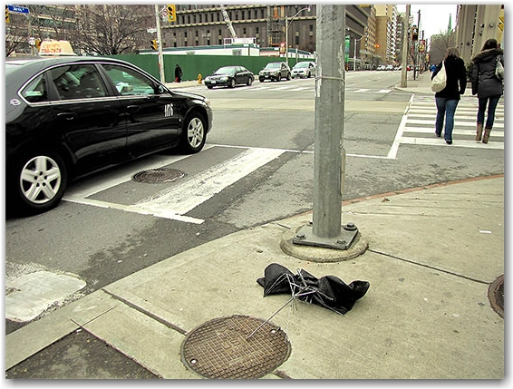 street corner, construction, destroyed umbrella, toronto, city, life