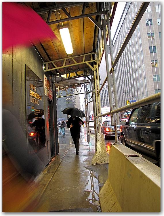 adelaide street, university avenue, intersection, construction awning, pedestrian covered pass, raining, fog, toronto, city, life