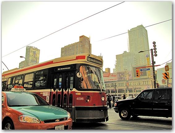 beck taxi, toronto transit commission, streetcar, intersection, yonge-dundas square, toronto, city, life