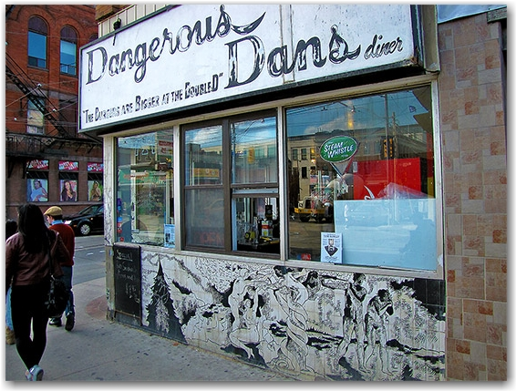 dangerous dan's, hamburgers, greasy spoon, riverdale, queen street east, broadview avenue, toronto, city, life