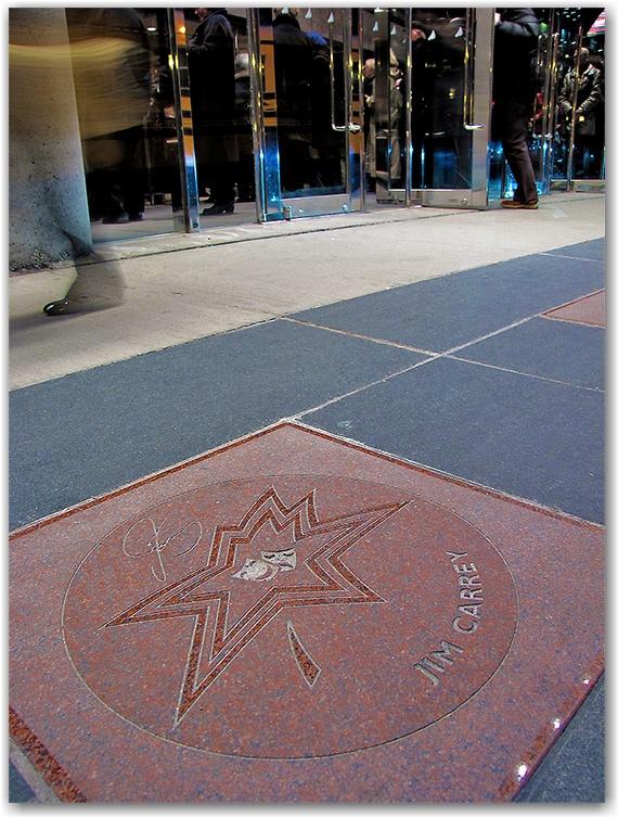 jim carrey, canada's walk of fame, plaque, sidewalk, concrete, entertainment district, king street west, toronto, city, life