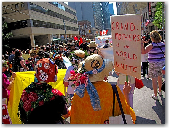grandmothers, g20, protests, protesters, college street, ocap, toronto, city, life