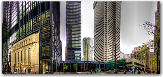 bay street, financial district, toronto stock exchange, panorama, hdr, toronto, city, life, blog