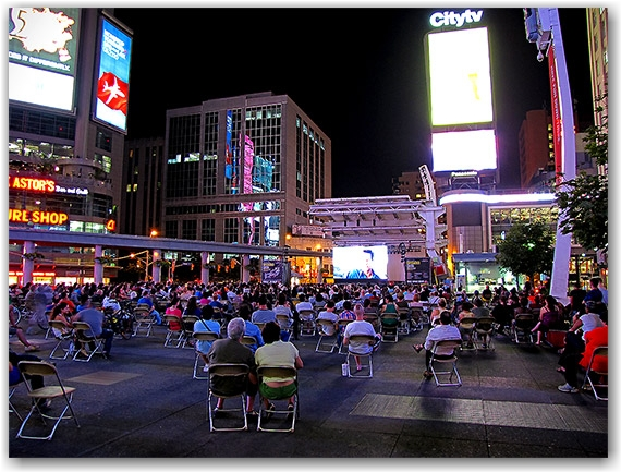 tuesday night movies, yonge-dundas square, toronto, city, life