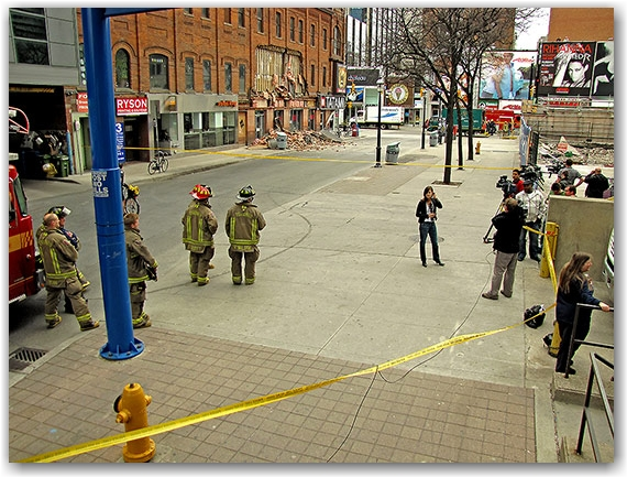 emergency, fire, crews, collapsed wall, yonge, gould, street, ryerson university, media, news, toronto, city, life
