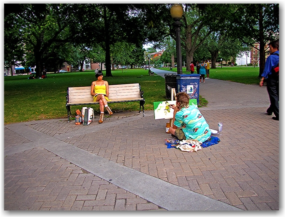 painting, painter, allan gardens, park, toronto, city, life