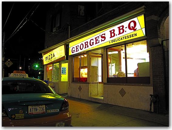 george's b.b.q., chicken, pizza, rotisserie, dundas street, toronto, city, life