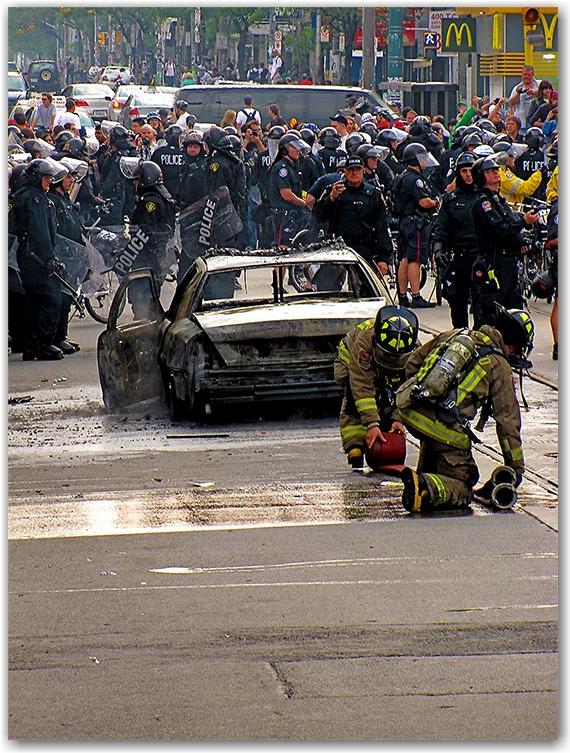 g20, riots, police, car, cruiser, fire, toronto, city, life
