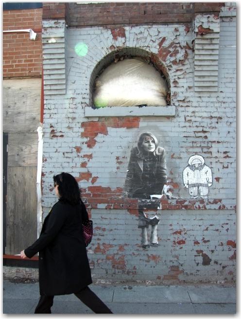 banksy, art, urban, wall, toronto, city, life