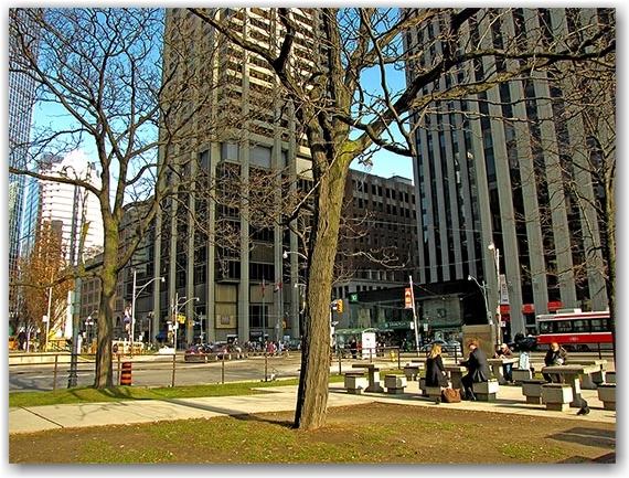 bay street, queen street east, nathan phillips square, city hall, hudson's bay company, toronto, city, life