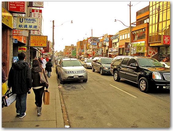 chinatownm sidewalk, signs, signage, dundas street west, toronto, city, life