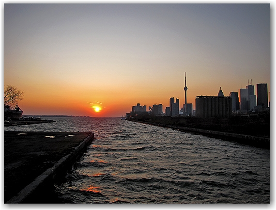 cherry street, bridge, docks. lake ontario, sunset, skyline, toronto, city, life