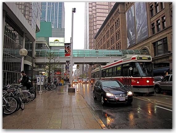 streetcar, queen street west, eaton centre, rain, autumn, fall, fog, toronto, city, life