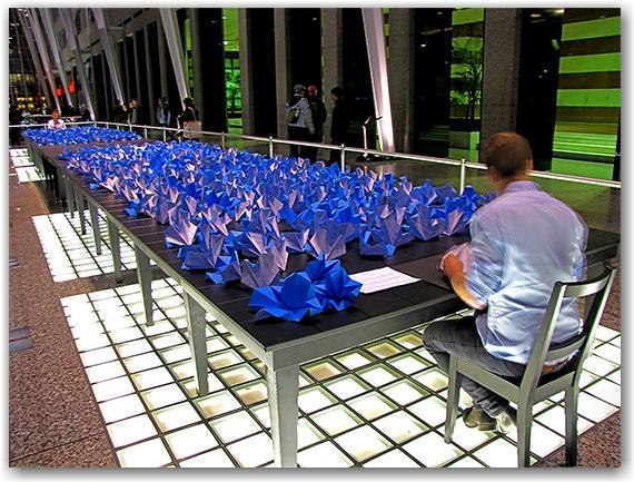 performance art, sculpture, paper folding, nuit blanche 2010, toronto, city, life