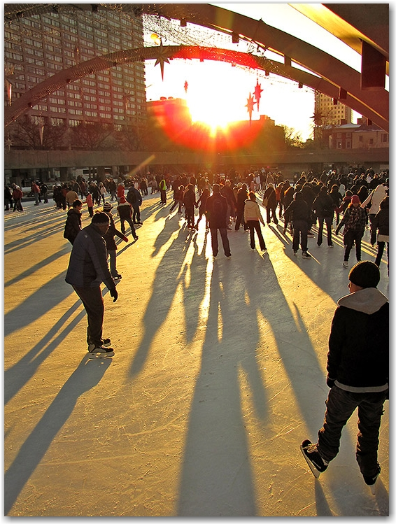 city hall, skating rink, skaters, ice, nathan phillips square, toronto, city, life