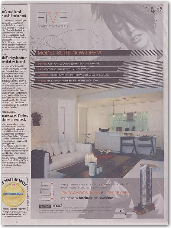 five condominums, newspaper advertisement, toronto star, toronto, city, life