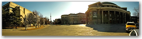 university of toronto, st.george campus, convocation hall, cn tower, skyline, toronto, city, life