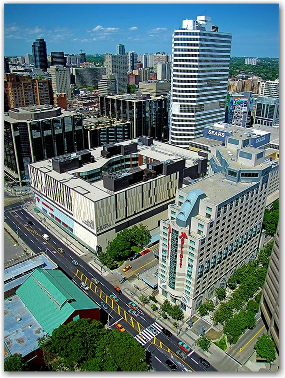 ryerson university, intersection, bay street, dundas street west, skyline, city hall, east tower, toronto, city, life