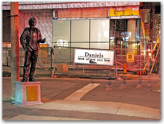 wind mobile, statue, advertisement, king street west, construction, bell lightbox building, toronto, city, life