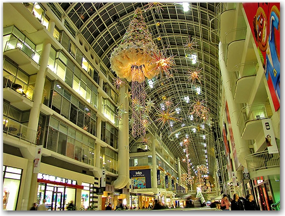 shoppers, eaton centre, christmas, decorations, seasonal, downtown, urban, business, toronto, city, life