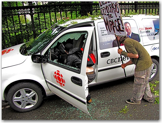 g20, riots, protesters, vandalism, cbc news, van, queen street west, toronto, city, life