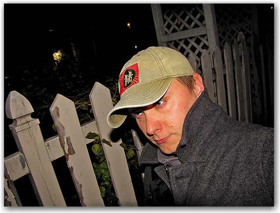 fence, hat, coat, pedestrian, patrick