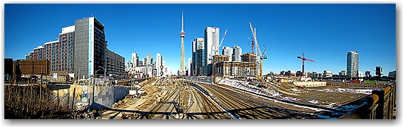 panorama, go train tracks, construction, skyline, spring, toronto, city, life, blog