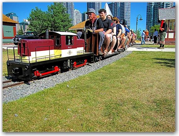miniature passenger train, john street roundhouse, tourists, toronto, city, life