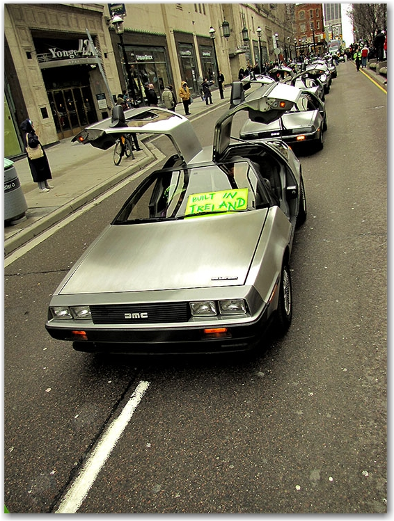 st. patrick's day parade, yonge street, college park, delorian, dmc, toronto, city, life
