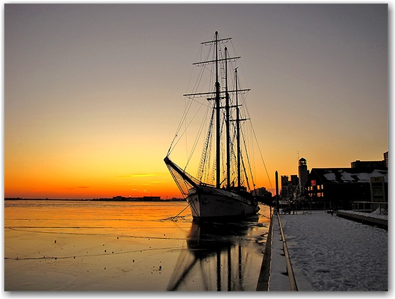 schooner, ship, harbour, moorings, ice, lake ontario, lakeshore, sunset, toronto, city, life