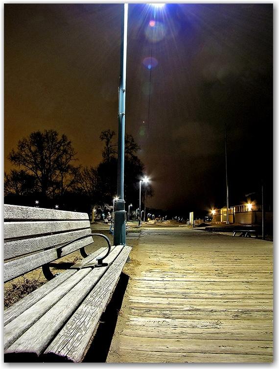 boardwalk, light pole, park bench, woodbine beach, toronto, city, life