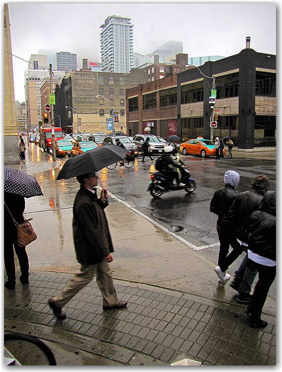 adelaide street, peter street, intersection, rain, fog, traffic, commute, toronto, city, life