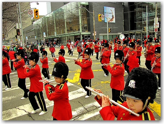 st. patrick's day parade, philippine heritage band, yonge street, toronto, city, life