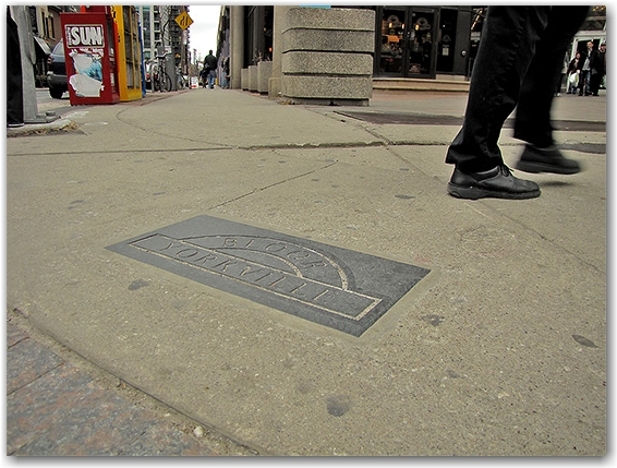 plaque, bay, yorkville, pavement, sidewalk, toronto, city, life