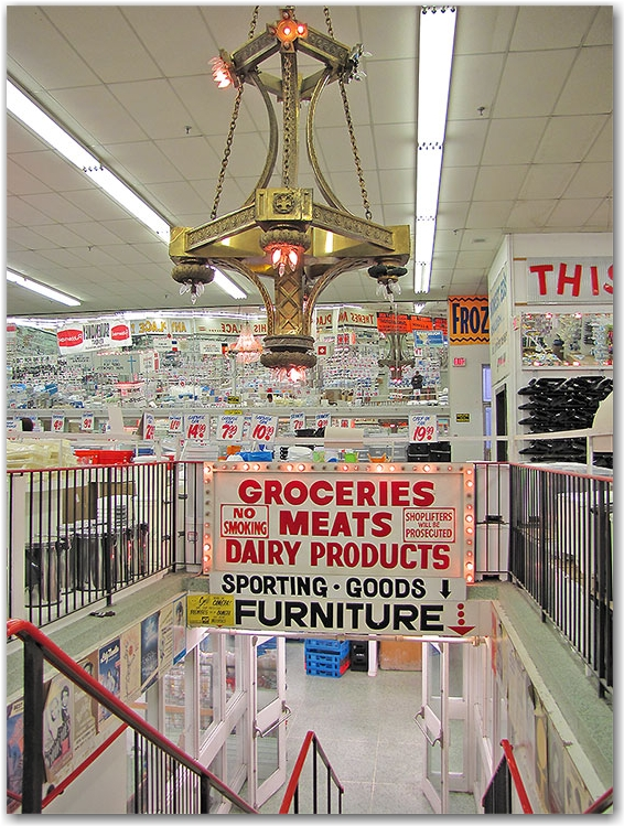 honest ed's, discount store, mirvish village, shop, chandelier, bargains, toronto, city, life