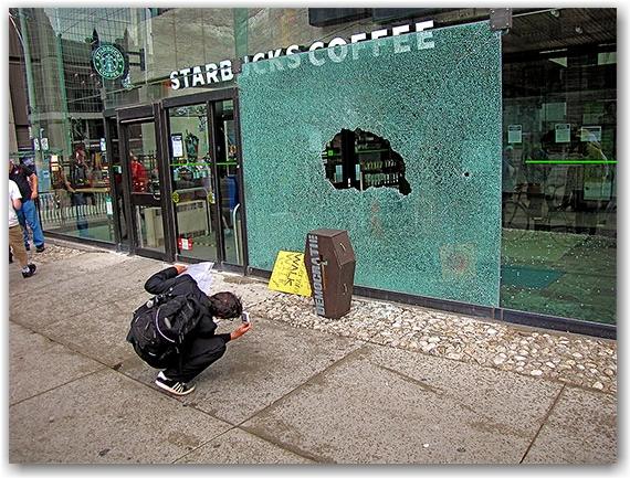 g20, protests, riots, broken glass, starbucks, casket, queen street west, toronto, city, life