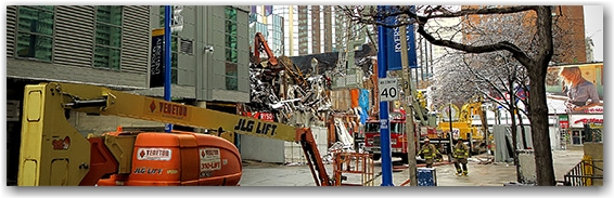 blaze, six, 6, alarm, fire, wall collapse, salad king, gould street, yonge street, ryerson university, toronto, city, life