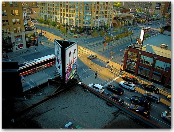 intersection, richmond street, spadina avenue, sunset, toronto, city, life