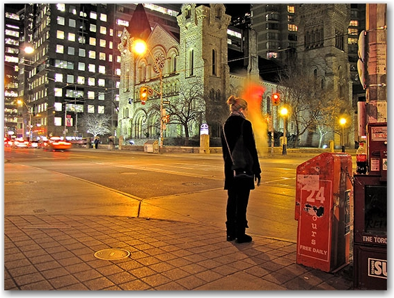 street corner, king street west, st. andrews's church, simcoe street, toronto, city, life