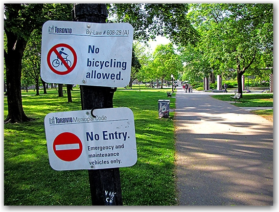 bylaw, law, bicycles, bicyclists, allan gardens, toronto, city, life