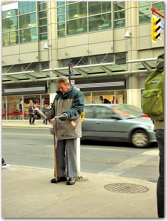 god man, street corner, yonge, dundas, street, toronto, city, life