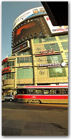 woo restaurant, amc 24 movie theatres, yonge-dundas square, toronto transit commission, streetcar, toronto, city, life